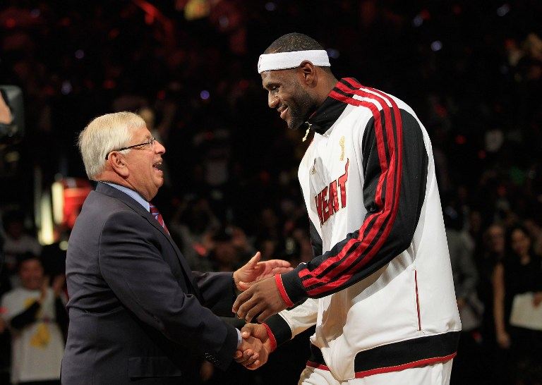 DONATIONS. In this file photo, NBA Commissioner David Stern greets the league's MVP LeBron James.