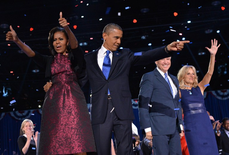 CELEBRATION. American President Barack Obama, First Lady Michelle, Vice President Joe Biden and his wife Jill celebrate Obama's reelection. Photo by AFP.