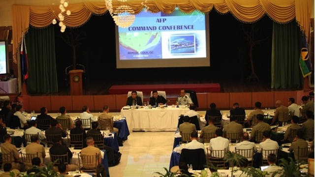 COMMAND CONFERENCE: Armed Forces chief General Emmanuel Bautista leads a command conference with senior mlitary leaders. Photo from the Armed Forces of the Philippines