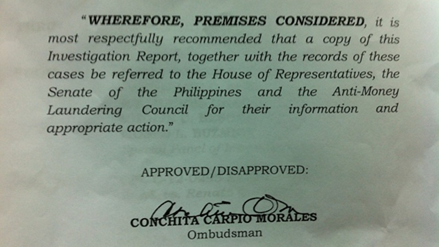 OMBUDSMAN REPORT: Chief Justice Renato Corona has at least P677-million of unexplained wealth