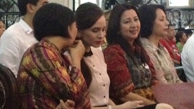 OPPOSING RH. Legislators against the RH bill, like Lucy Torres-Gomez (left) and Milagros 'Mitos' Magsaysay (right), attend Monday's Mass. Photo by Paterno Esmaquel II