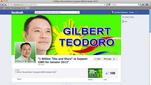 1 MILLION LIKES FOR GIBO? Facebook campaign launched to push former Defense Secretary Gilbert Teodoro to run for Senator (Facebook Screenshot)