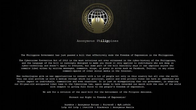 GOV'T HACKED. The group Anonymous Philippines hacks government websites to protest the Cybercrime Law. Screen grab from bsp.gov.ph