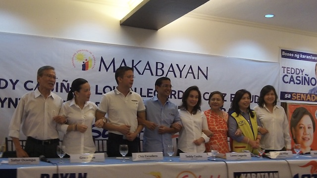 ALLIANCE. (From left to right) Makabayan President Satur Ocampo, MTRCB Chairperson Grace Poe-Llamanzares, Sen Chiz Escudero, Bayan Muna Rep Teddy Casiño, Sen Loren Legarda, Former Las Piñas Rep Cynthia Villar, Gwen Pimentel (representing brother Koko Pimentel), and Makabayan Co-Chair Liza Maza. Photo by Angela Casauay