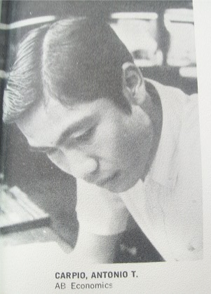 Antonio Carpio in college. Source: Ateneo yearbook 1970, Ateneo de Manila University Archives.