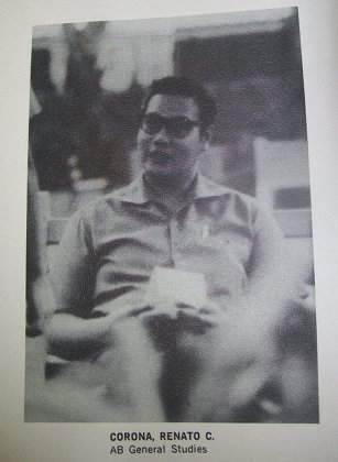 Renato Corona in Ateneo. Source: Ateneo de Manila University Archives.