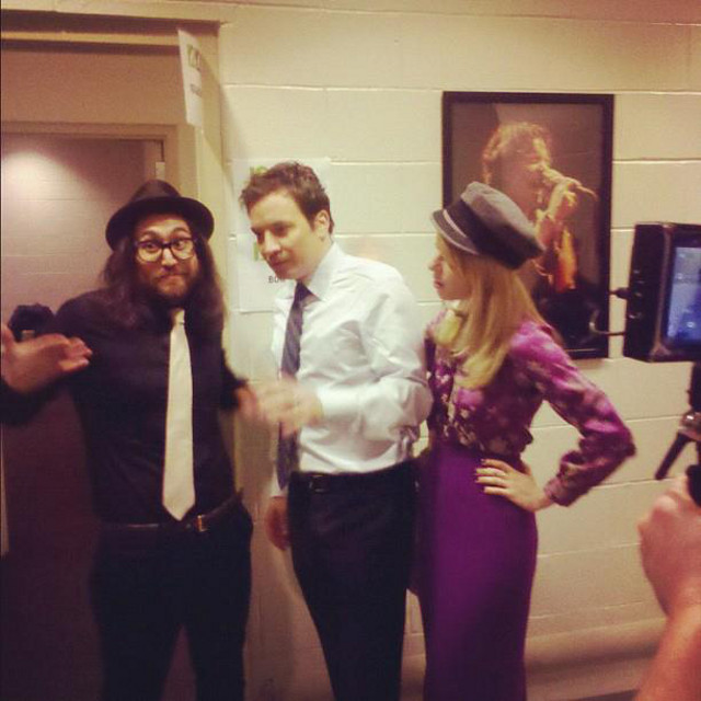 Sean Lennon and Jimmy Fallon backstage