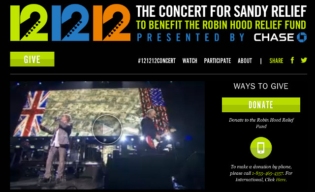 Screenshot from 121212concert.org
