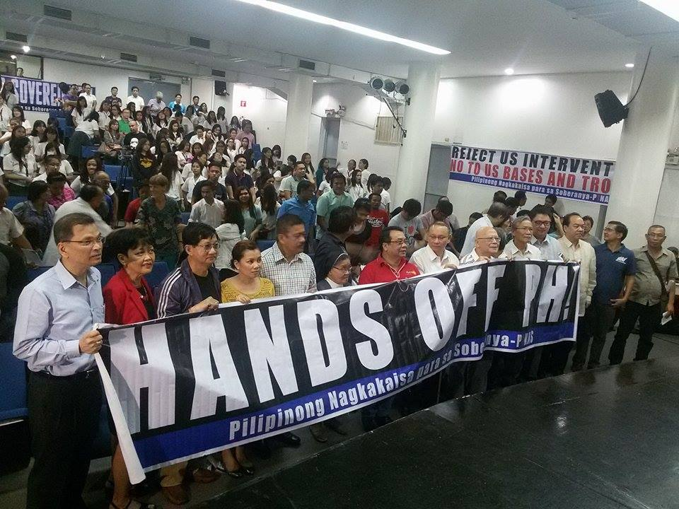 HANDS OFF PHILIPPINES. Group tagged US and China 'bullies' fighting in Philippine 'backyard.'