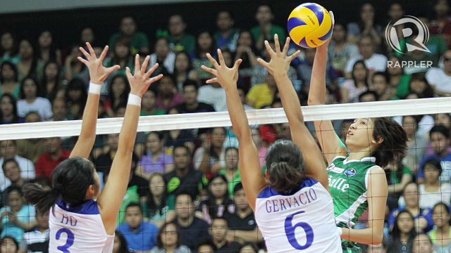 Mika Reyes and the Lady Spikers blasted the Lady Eagles. Photo by Josh Albelda