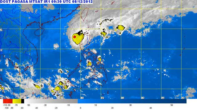 PABLO RETURNS. MTSAT enhanced IR satellite image as of 5:30 p.m., 08 December 2012. Screengrab from http://www.pagasa.dost.gov.ph/