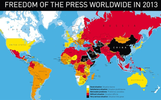 Image from the 2013 World Press Freedom Index by Reporters Without Borders