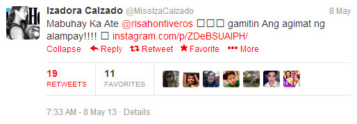The following are screen grabs from Iza Calzado's Twitter account :
