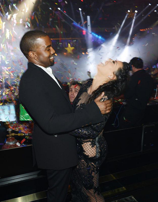 BABY DADDY AND MOMMA. Kanye West and Kim Kardashian on New Year's eve. Photo from the Kim Kardashian Facebook page