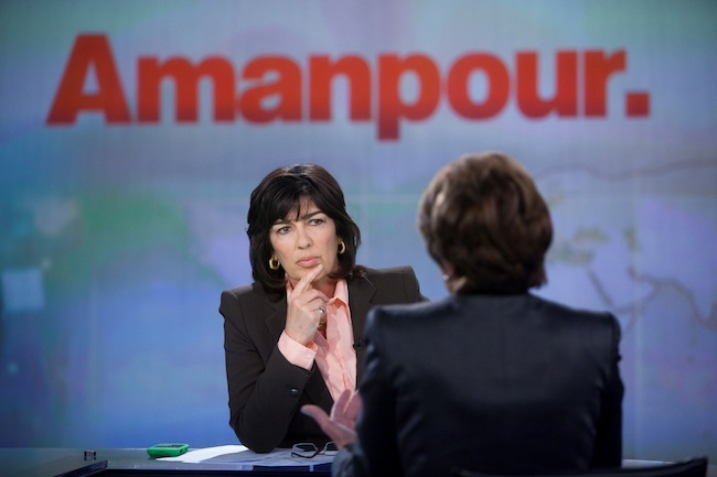AMANPOUR RETURNS. Christiane Amanpour interviews former Speaker of the House Nancy Pelosi in New York, April 3, 2012. Amanpour returns to CNN International to host a new global affairs show on the cable network. Photo courtesy of CNN
