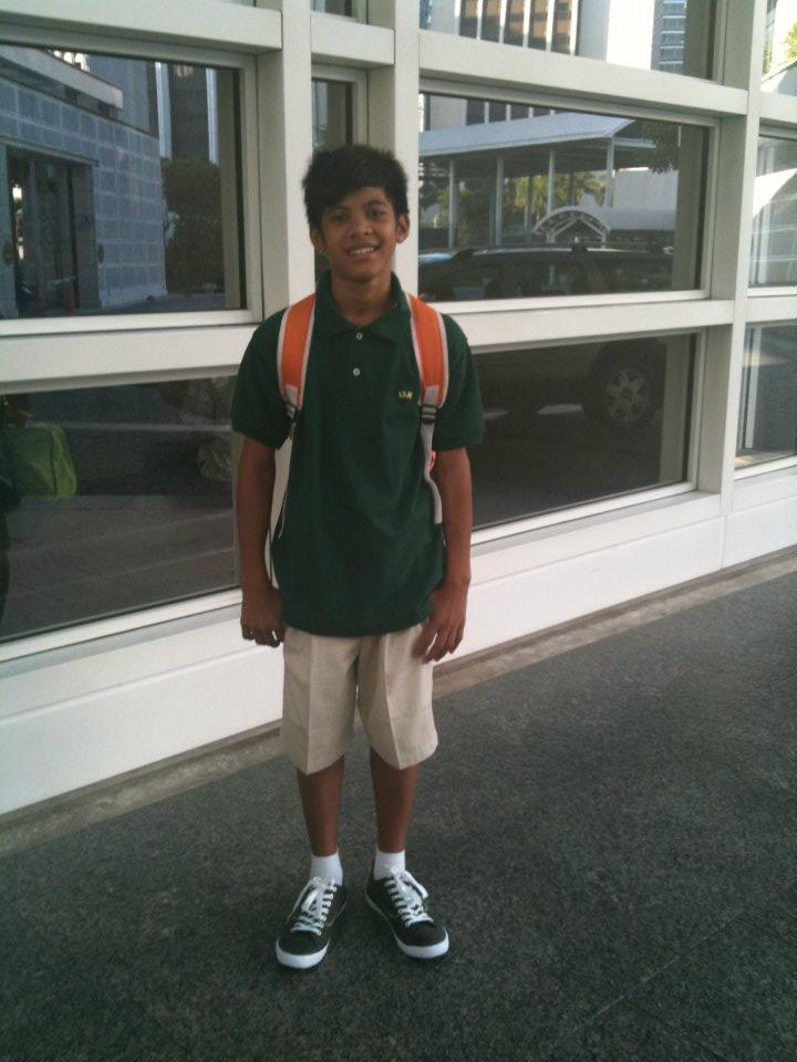 BIG DAY. Romnick on his first day of school at the International School of Manila. Courtesy of GreenEarth Heritage Foundation.