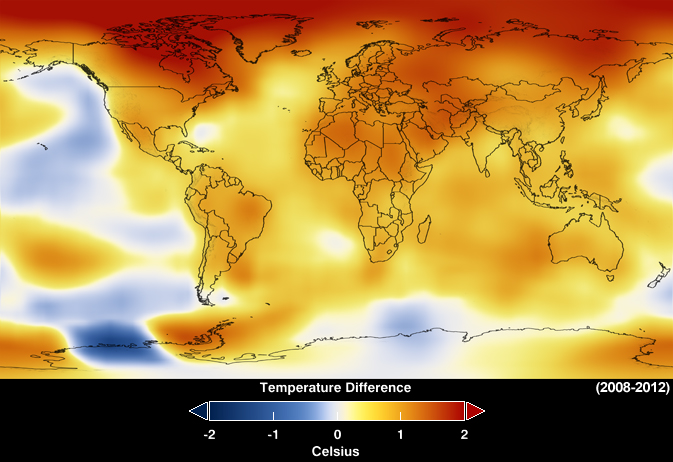 This map represents global temperature anomalies averaged from 2008 through 2012. Data source: NASA Goddard Institute for Space Studies; Visualization credit: NASA Goddard's Scientific Visualization Studio