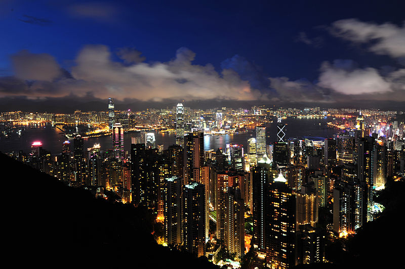 View of Hong Kong and Kowloon from Victoria Peak, 2011. Photo courtesy of Wikipedia/chensiyuan
