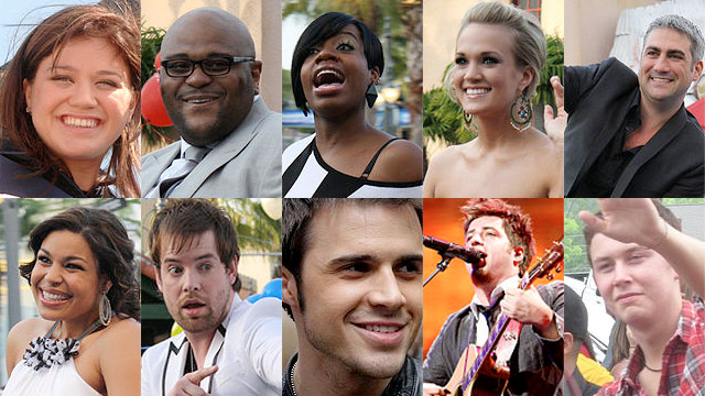 The ten past winners of &quot;American Idol&quot;: Top row L-R: Kelly Clarkson; Ruben Studdard; Fantasia Barrino; Carrie Underwood; Taylor Hicks. Bottom row L-R: Jordin Sparks; David Cook; Kris Allen; Lee DeWyze; Scotty McCreery.