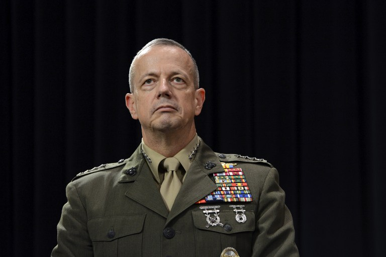 Supreme Allied Commander in Europe (SACEUR) US General John Allen looks on following a meeting of NATO Defense Ministers at NATO headquarter in Brussels on Otober 10, 2012. AFP Photo / Thierry Charlier