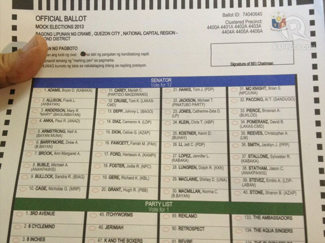 TEST BALLOT. Look who's running for senator. Photo by Paterno Esmaquel II