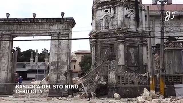after the quake video shows damage in cebu city
