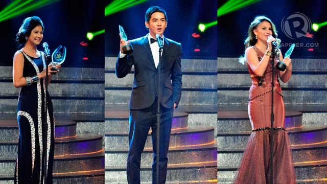 Winners of Best New Movie Actress and Actor of the Year: Kim Komatsu (Mga Mumunting Lihim), Neil Coleta (I Do Bidoo Bidoo), Tippy dos Santos (I Do Bidoo Bidoo)