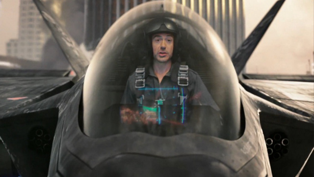GUNFIRE AND JETS. Activision's most recent trailer for the game features a quick cameo from Robert Downey, Jr. Screenshot from YouTube video.