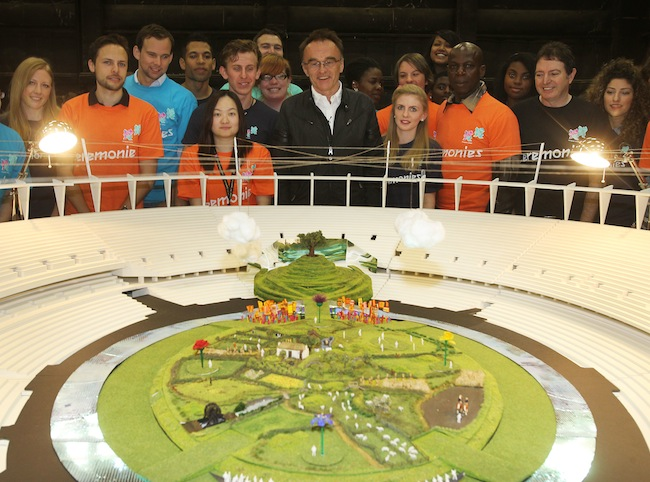 'IDYLLIC' OPENING. London 2012 Olympic Games artistic Director Danny Boyle and volunteers reveal the opening set for the Olympic Games Opening Ceremony, 12 June 2012. Photo courtesy of LOGOC