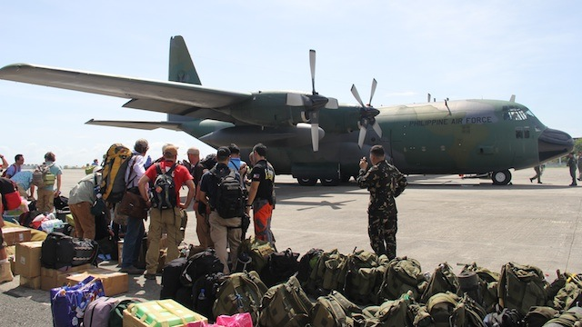 DOUBLE TIME: Military C-130 cargo planes fly 6 flights a day to bring in personnel and necessary equipment to devastated areas. Photo by the Armed Forces of the Philippines