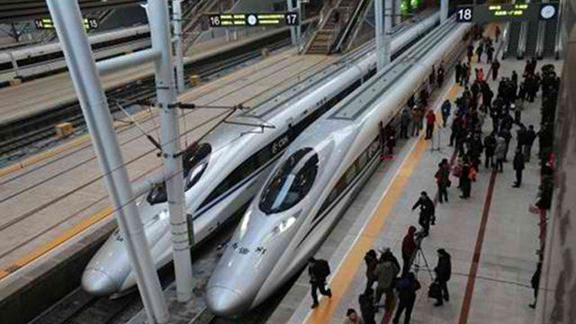 HIGH SPEED. China started service on December 26 on the new 2,298-km (1,425-mile) line between Beijing and Guangzhou means passengers will be whisked from the capital to the southern commercial hub in just eight hours, compared with the 22 hours previously required. AFP photo