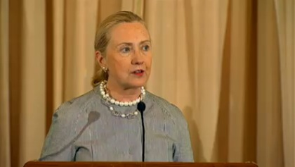 US Secretary of State Hillary Clinton speaking during the release of the 2012 Trafficking in Persons report at the US Department of State in Washington DC, June 19, 2012. Frame grab courtesy of the US Department of State.