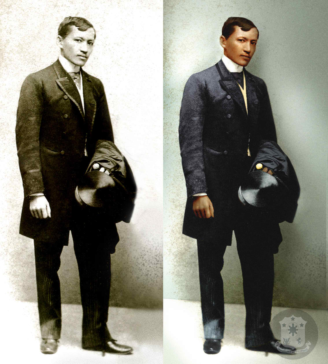 RIZAL'S ICONIC PHOTO. Colorized version of Jose Rizal's photograph taken in 1890. Screen grab from Official Gazette
