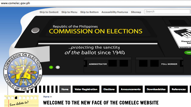 COMELEC WEBSITE. The Commision on Elections website is up and has been redesigned. Screen shot from Comelec