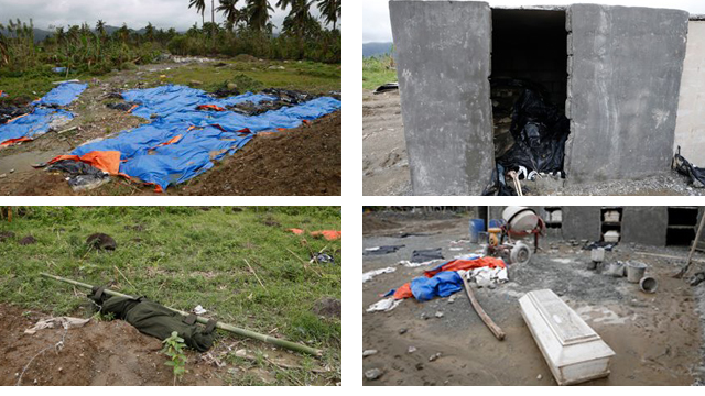 Bodies lie at the New Bataan Public Cemetery on Christmas, 21 days after typhoon Pablo killed more than a thousand. Photos by Kiri Dalena 25 Dec 2012.