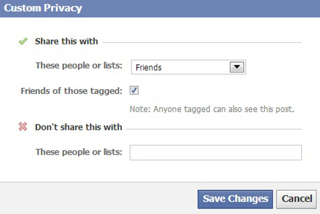 CUSTOM PRIVACY. You can alter who sees what on your Facebook wall easily. Screen shot from Facebook.com.