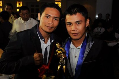 PROUD FIGHTERS. Boxers Donnie Nietes and Denver Cuelo at the 12th Elorde awards. March 25, 2012. Hanz Lustre.