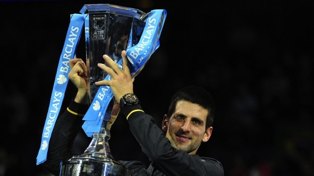 VICTORIOUS. In this file photo, Serbia's Novak Djokovic poses with the winners' trophy after the singles final against Switzerland's Roger Federer on the eighth day of the ATP World Tour Finals tennis tournament in London on November 12, 2012. AFP PHOTO / GLYN KIRK