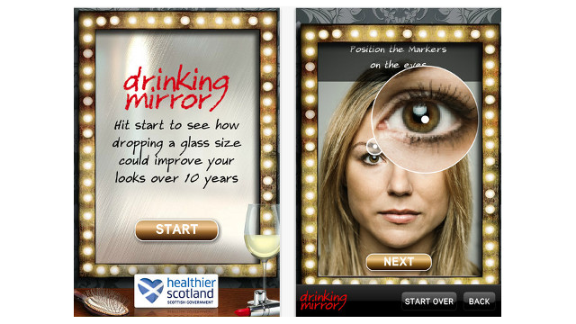FACE CHANGER. The Drinking Mirror app alters the look of your face over time based on how much alcohol you regularly consume. Photo from iPhone app page..