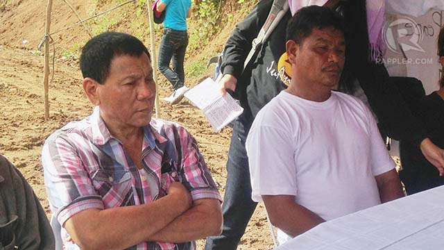 FREE. Davao City Vice Mayor Rodrigo Duterte with freed NPA captive policeman Ruben Nojapa (R). Photo by Karlos Manlupig