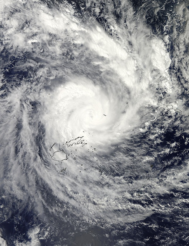 MONSTER STORM. NASA's Aqua satellite flew over Tropical Cyclone Evan at 0135 UTC on Dec. 16 (8:35 p.m. EST/U.S., Dec. 15) when it was over the Fiji Islands. Credit: NASA Goddard MODIS Rapid Response Team