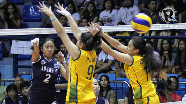 Pau Soriano hits it as Adamson survived FEU. Photo by Josh Albelda