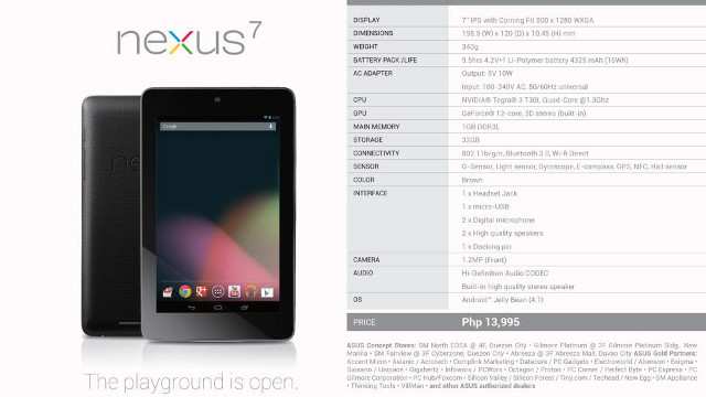 NEXUS. The Nexus 7 isn't exactly a budget tablet, but it's arguably the best value for money. Photo from Asus Philippines Facebook Page.