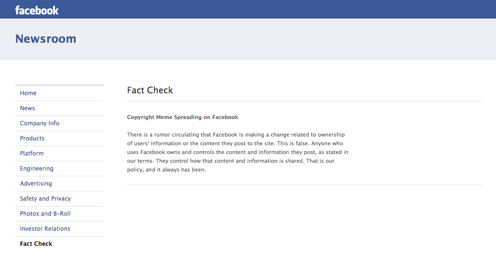 POLICY CHANGE? Not true, says Facebook. Screen grab from the Facebook Newsroom page