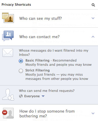 CONTACT PRIVILEGES. The updated Facebook page will feature a means to modify who can contact you or gain access to your information. 