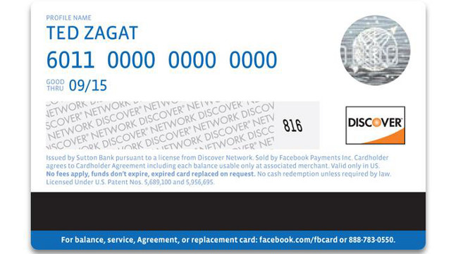 MOCK UP. The mock-up of Facebook's new reloadable gift card. Screen shot from Facebook