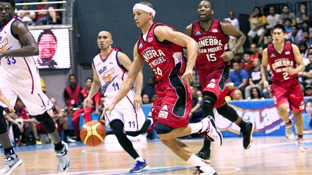 Ginebra wasn't able to outrun the Express in their debut in the PBA Commissioner's Cup. Photo by Nuki Sabio/PBA Images. Image from PBA Facebook account