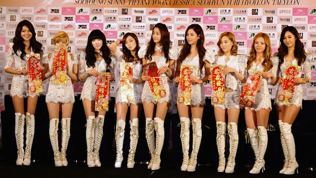 Girls Generation at an event in Hong Kong, January 2012. AFP FILE PHOTO / LAURENT FIEVET
