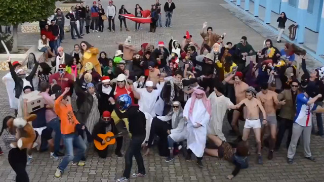 TUNISIAN SHAKE. A Harlem Shake mob in Tunisia. Screen grab from YouTube