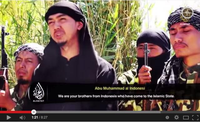 Screenshot dari YouTube video pada 23 Juli 2014, menampilkan seorang WNI mengajak warga Indonesia bergabung dengan ISIS